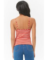 Forever 21 - Red Women's Striped Caged Camisole Top - Lyst