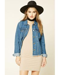 Forever 21 | Blue Love Me Forever Denim Jacket | Lyst