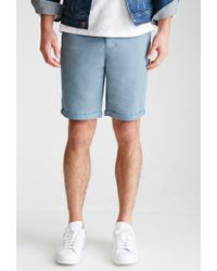 Forever 21 - Blue Cuffed Chino Shorts for Men - Lyst