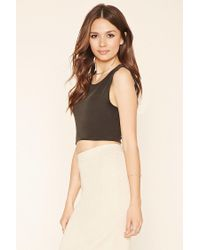Forever 21 - Gray Curved-hem Crop Top - Lyst