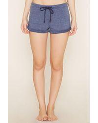 Forever 21 - Blue Cuffed-hem Pyjama Shorts - Lyst