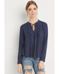 Forever 21 - Blue Pintucked Button-down Blouse - Lyst