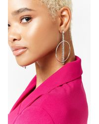 Forever 21 - Metallic Rhinestone Drop Hoop Earrings - Lyst
