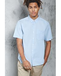 Forever 21 - Blue Slim-fit Button-front Shirt for Men - Lyst