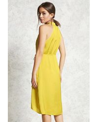 Forever 21 - Yellow Contemporary Satin Wrap Dress - Lyst