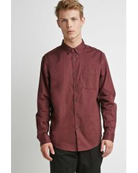 Forever 21 - Green 's Classic Button-collar Shirt for Men - Lyst