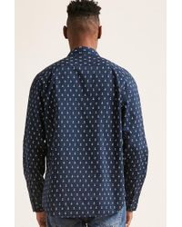 Forever 21 Blue Nautica Anchor Print Shirt for men