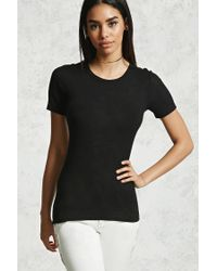 Forever 21 - Black Slub Knit Stretch-knit Tee - Lyst