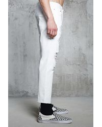 Forever 21 - White Distressed Clean Wash Jeans for Men - Lyst