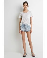 Forever 21 - Blue Mid-rise Cuffed Denim Shorts - Lyst