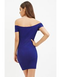 Forever 21 - Blue Off-the-shoulder Bodycon Dress - Lyst