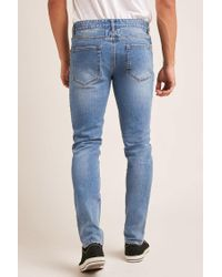 Forever 21 - Blue Distressed Knee Skinny Jeans for Men - Lyst