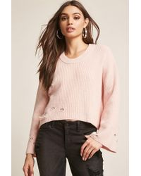Forever 21 - Pink Distressed Ribbed Bell-sleeve Top - Lyst