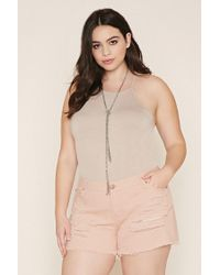 Forever 21 - Blue Plus Size Distressed Cutoffs - Lyst