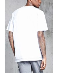 Forever 21 - White 's Mesh Dual Hem Tee Shirt for Men - Lyst