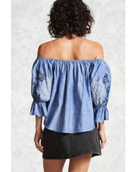 Forever 21 - Blue Chambray Off-the-shoulder Top - Lyst