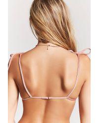 Forever 21 - Purple Velvet Triangle Bikini Top - Lyst
