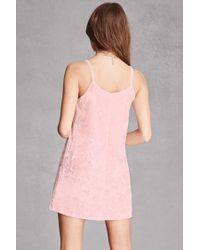 Forever 21 Pink Crushed Velvet Cami Dress