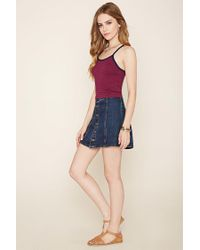 Forever 21 - Blue Cutout Striped Cropped Cami - Lyst