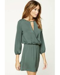 Forever 21 Green Satin Surplice Mini Dress