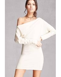 24ea62170d8 Forever 21 Off-the-shoulder Sweater Dress in White - Lyst