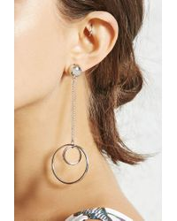 Forever 21 - Metallic Drop Hoop Earrings - Lyst