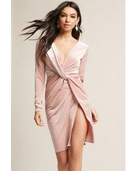 Forever 21 - Purple Velvet Tulip Dress - Lyst