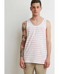 Forever 21   White Faded-stripe Tank for Men   Lyst