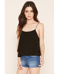 Forever 21 - Black Lace-up Cropped Cami - Lyst