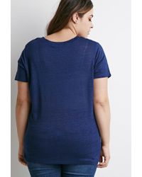 Forever 21 - Blue Plus Size Classic V-neck Tee - Lyst