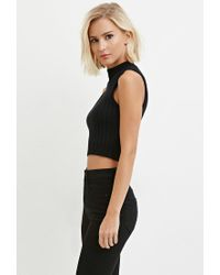 Forever 21 - Black Ribbed Crop Top - Lyst