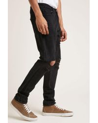 Forever 21 - Black Distressed Slim-fit Jeans - Lyst