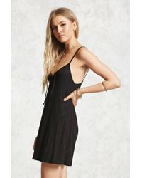 Forever 21 - Black Lace-up Front Mini Dress - Lyst