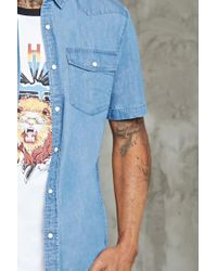 Forever 21 - Blue Slim-fit Cotton Denim Shirt for Men - Lyst