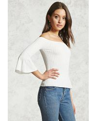 Forever 21 - White Ribbed Off-the-shoulder Top - Lyst