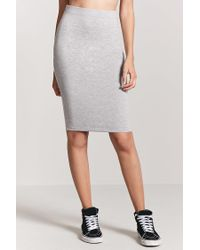 Forever 21 - Gray Women's Stretch-knit Pencil Skirt - Lyst