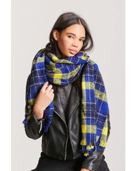 Forever 21 | Blue Plaid Oblong Scarf | Lyst