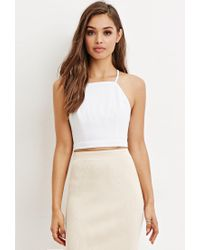 f662cb40ac Lyst - Forever 21 Crisscross-back Cropped Cami in White