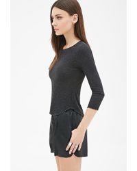Forever 21 - Gray Ribbed Thermal Tee - Lyst