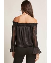 Forever 21 - Black Off-the-shoulder Shadow Stripe Top - Lyst