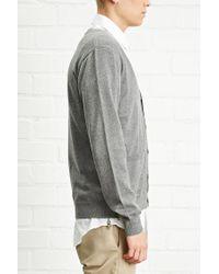 Forever 21 - Gray 's Stripe-sleeve Cardigan for Men - Lyst