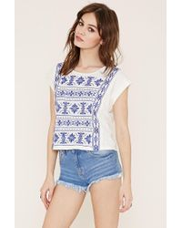 Forever 21 | Natural Cuffed-sleeve Embroidery Top | Lyst