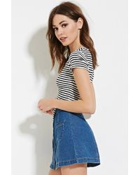 Forever 21 - Black Knotted Stripe Crop Top - Lyst