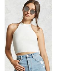 Forever 21 - Multicolor Cropped Ribbed Knit Halter Top - Lyst