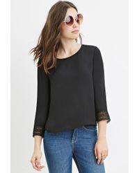 Forever 21 - Black Floral Crochet-trim Blouse - Lyst