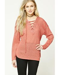 Forever 21 - Multicolor Open-knit Lace-up Jumper - Lyst
