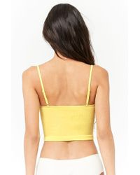 Forever 21 - Yellow Seamless Lace-up Bralette - Lyst