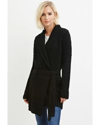 Forever 21 | Black Belted Longline Cardigan You've Been Added To The Waitlist | Lyst