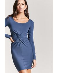 Forever 21 - Blue Twist-front Bodycon Dress - Lyst