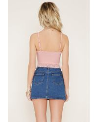 Forever 21 - Blue Lace-trimmed Cropped Cami - Lyst